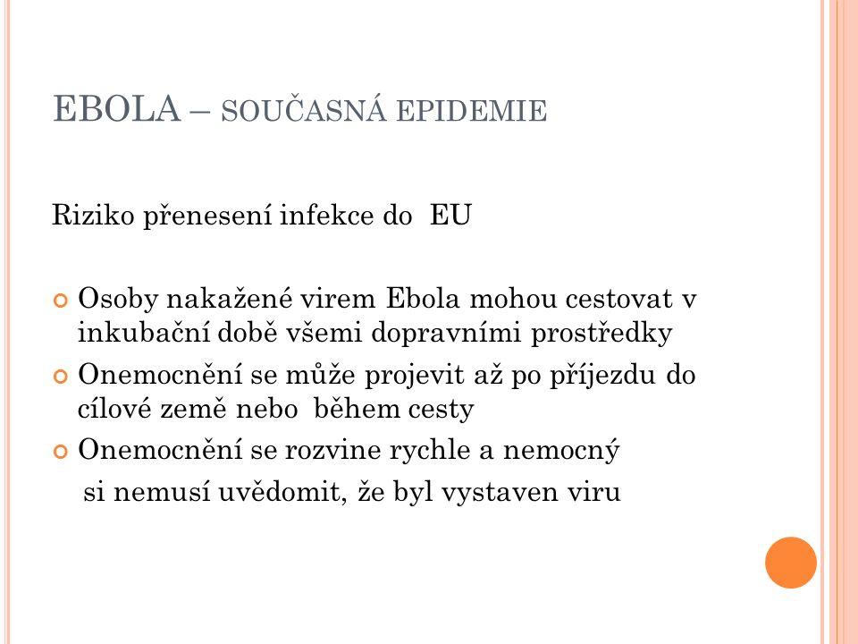 EBOLA – SOUČASNÁ EPIDEMIE Riziko přenesení infekce do EU Osoby nakažené virem Ebola mohou cestovat v inkubační době všemi dopravními prostředky Onemocnění se může projevit až po příjezdu do cílové země nebo během cesty Onemocnění se rozvine rychle a nemocný si nemusí uvědomit, že byl vystaven viru