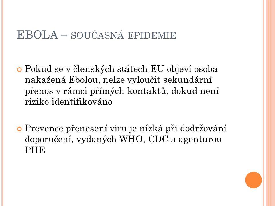 EBOLA – SOUČASNÁ EPIDEMIE Pokud se v členských státech EU objeví osoba nakažená Ebolou, nelze vyloučit sekundární přenos v rámci přímých kontaktů, dokud není riziko identifikováno Prevence přenesení viru je nízká při dodržování doporučení, vydaných WHO, CDC a agenturou PHE