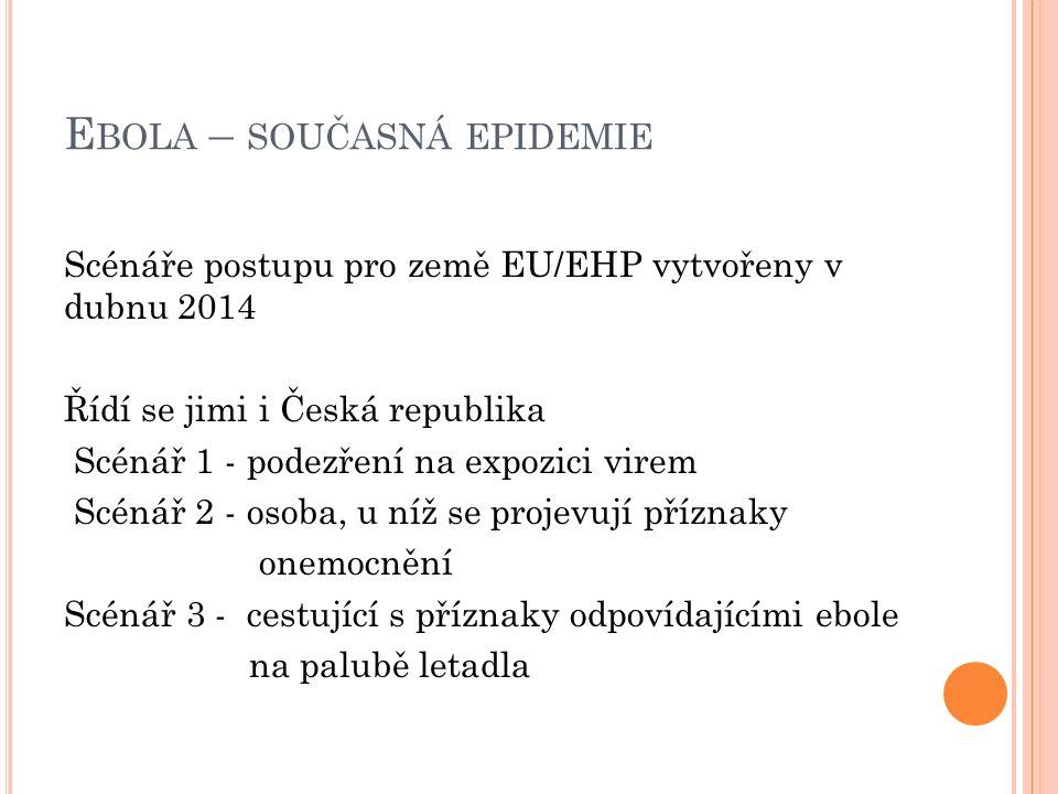 E BOLA – SOUČASNÁ EPIDEMIE Scénáře postupu pro země EU/EHP vytvořeny v dubnu 2014 Řídí se jimi i Česká republika Scénář 1 - podezření na expozici virem Scénář 2 - osoba, u níž se projevují příznaky onemocnění Scénář 3 - cestující s příznaky odpovídajícími ebole na palubě letadla