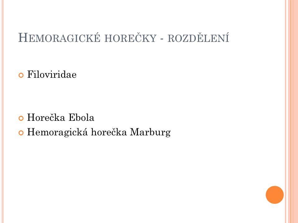H EMORAGICKÉ HOREČKY - ROZDĚLENÍ Filoviridae Horečka Ebola Hemoragická horečka Marburg
