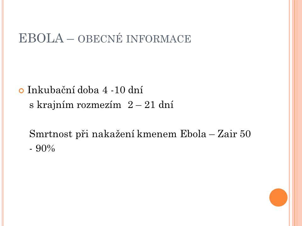 EBOLA – OBECNÉ INFORMACE Inkubační doba 4 -10 dní s krajním rozmezím 2 – 21 dní Smrtnost při nakažení kmenem Ebola – Zair 50 - 90%