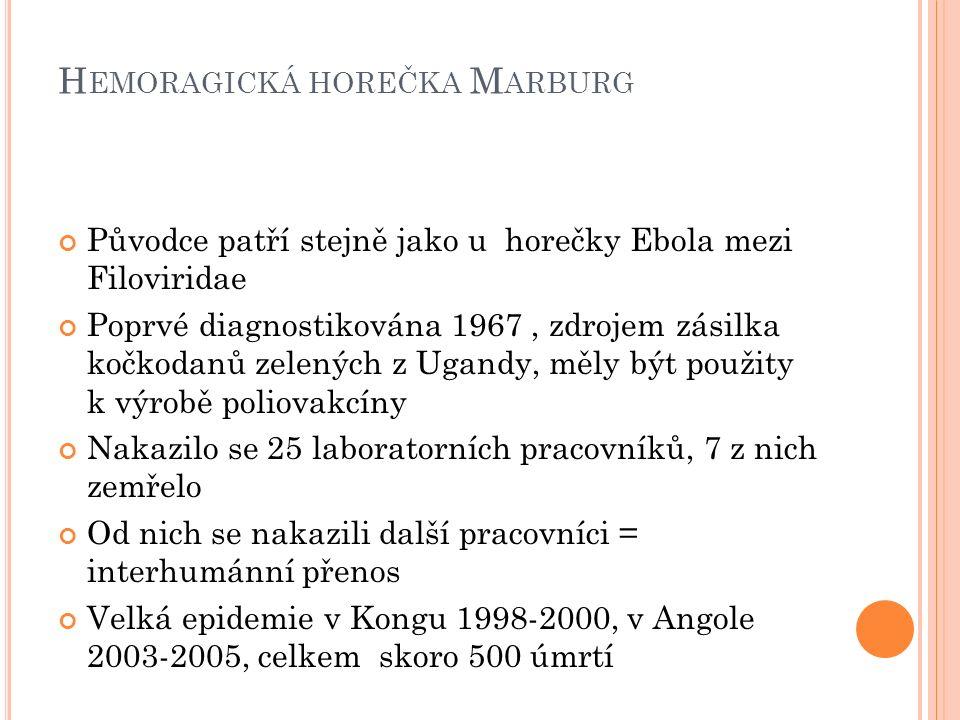 H EMORAGICKÁ HOREČKA M ARBURG Původce patří stejně jako u horečky Ebola mezi Filoviridae Poprvé diagnostikována 1967, zdrojem zásilka kočkodanů zelených z Ugandy, měly být použity k výrobě poliovakcíny Nakazilo se 25 laboratorních pracovníků, 7 z nich zemřelo Od nich se nakazili další pracovníci = interhumánní přenos Velká epidemie v Kongu 1998-2000, v Angole 2003-2005, celkem skoro 500 úmrtí