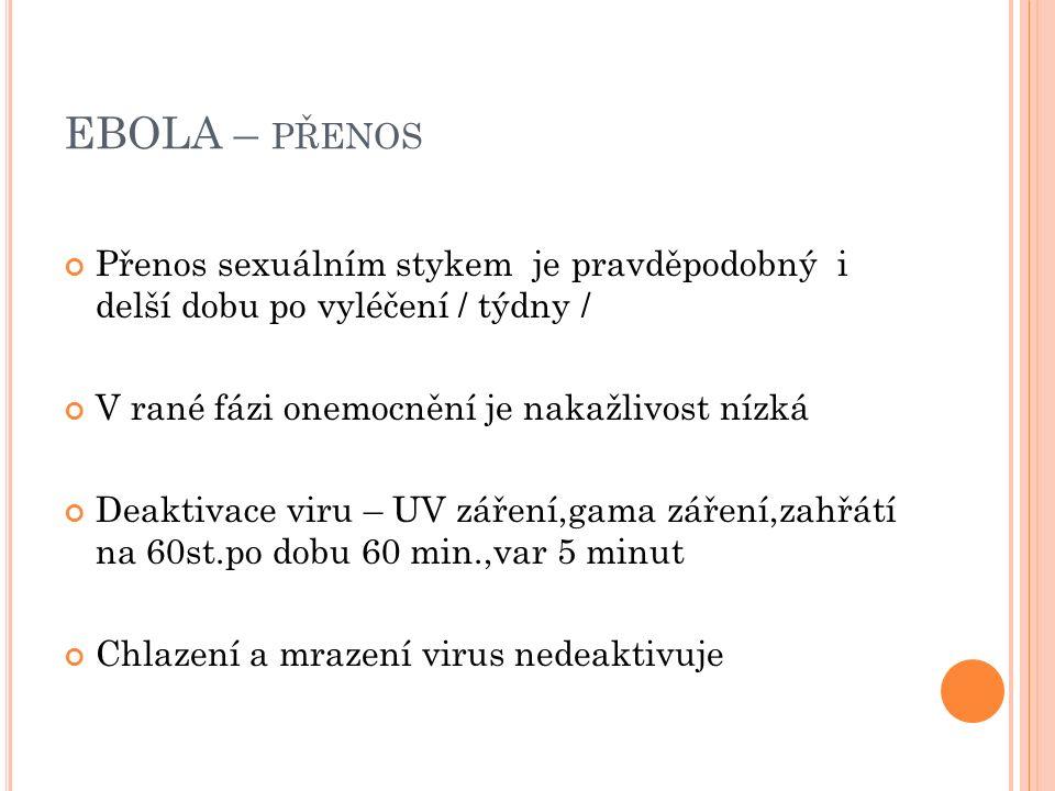 EBOLA – PŘENOS Přenos sexuálním stykem je pravděpodobný i delší dobu po vyléčení / týdny / V rané fázi onemocnění je nakažlivost nízká Deaktivace viru – UV záření,gama záření,zahřátí na 60st.po dobu 60 min.,var 5 minut Chlazení a mrazení virus nedeaktivuje