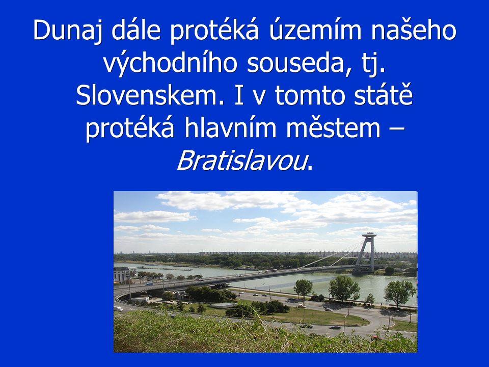 Dunaj dále protéká územím našeho východního souseda, tj. Slovenskem. I v tomto státě protéká hlavním městem – Bratislavou.