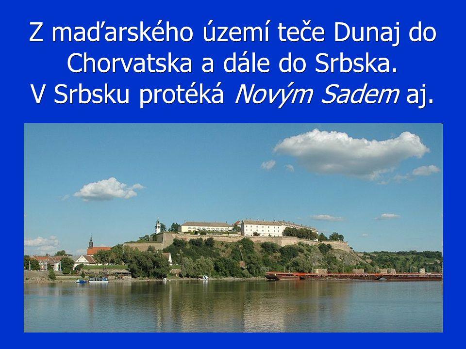 Z maďarského území teče Dunaj do Chorvatska a dále do Srbska. V Srbsku protéká Novým Sadem aj.