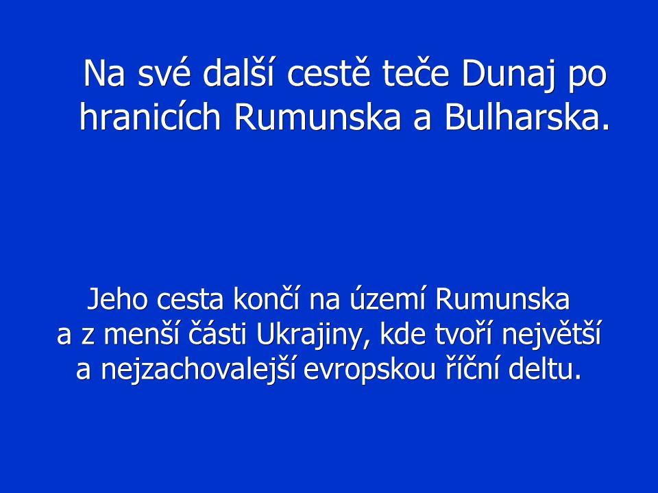 Na své další cestě teče Dunaj po hranicích Rumunska a Bulharska. Jeho cesta končí na území Rumunska a z menší části Ukrajiny, kde tvoří největší a nej