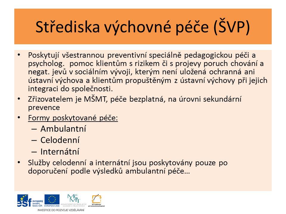 Střediska výchovné péče (ŠVP) Poskytují všestrannou preventivní speciálně pedagogickou péči a psycholog.
