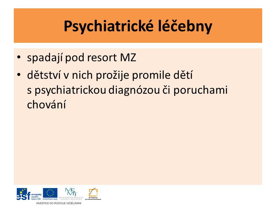 Psychiatrické léčebny spadají pod resort MZ dětství v nich prožije promile dětí s psychiatrickou diagnózou či poruchami chování