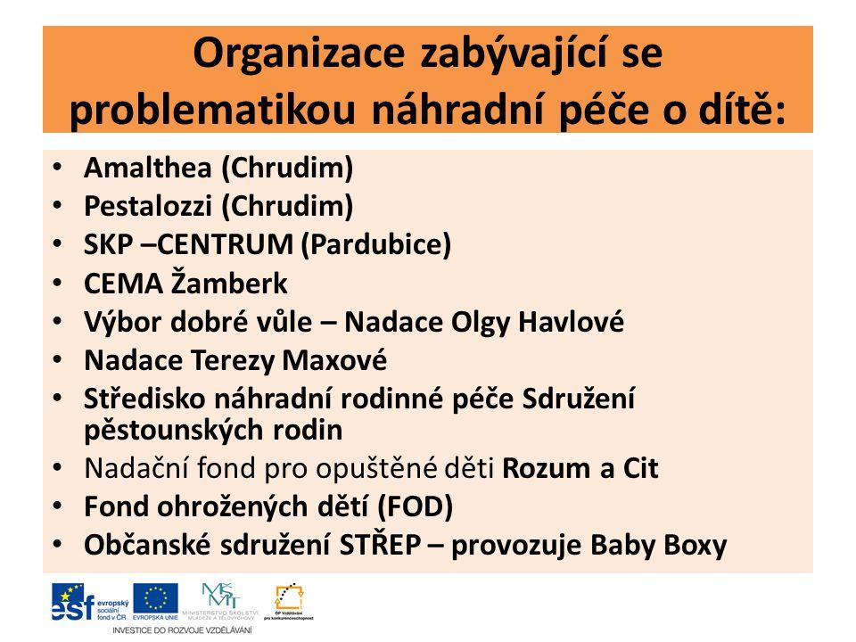 Organizace zabývající se problematikou náhradní péče o dítě: Amalthea (Chrudim) Pestalozzi (Chrudim) SKP –CENTRUM (Pardubice) CEMA Žamberk Výbor dobré vůle – Nadace Olgy Havlové Nadace Terezy Maxové Středisko náhradní rodinné péče Sdružení pěstounských rodin Nadační fond pro opuštěné děti Rozum a Cit Fond ohrožených dětí (FOD) Občanské sdružení STŘEP – provozuje Baby Boxy