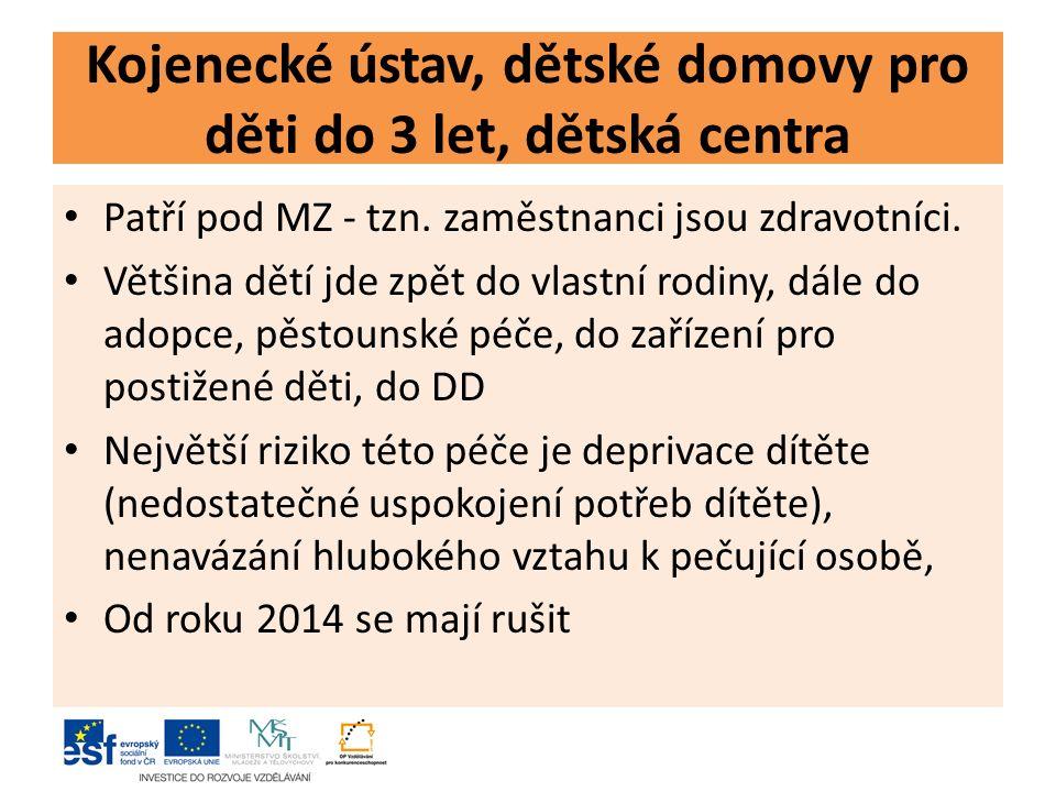 Kojenecké ústav, dětské domovy pro děti do 3 let, dětská centra Patří pod MZ - tzn.