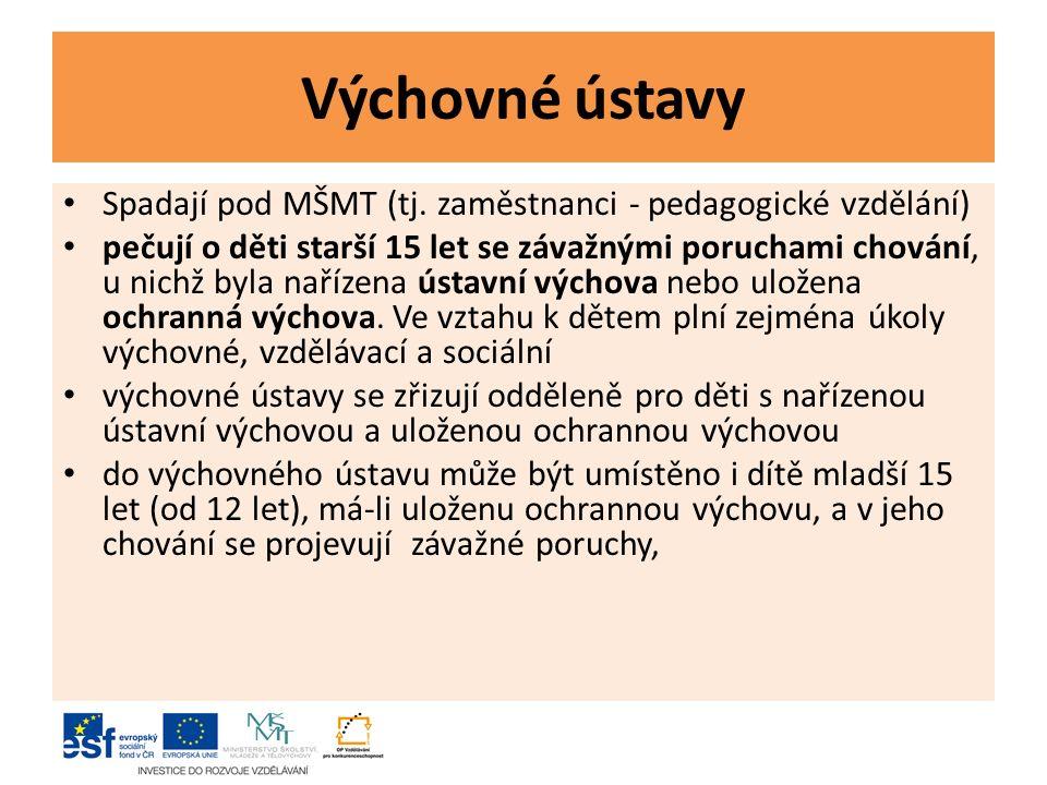 Výchovné ústavy Spadají pod MŠMT (tj.
