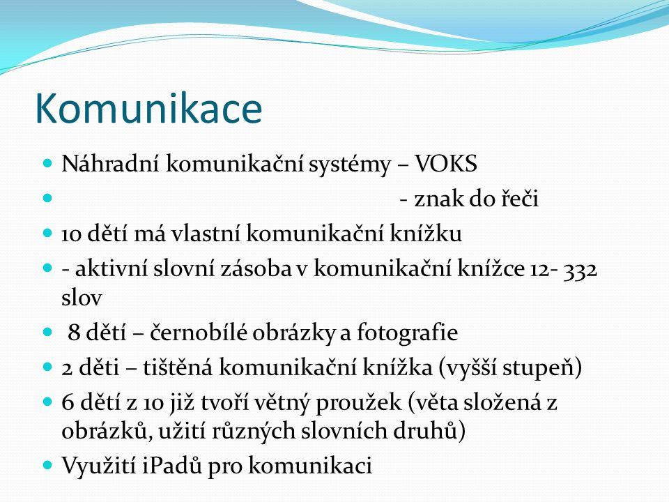 Komunikace Náhradní komunikační systémy – VOKS - znak do řeči 10 dětí má vlastní komunikační knížku - aktivní slovní zásoba v komunikační knížce 12- 3