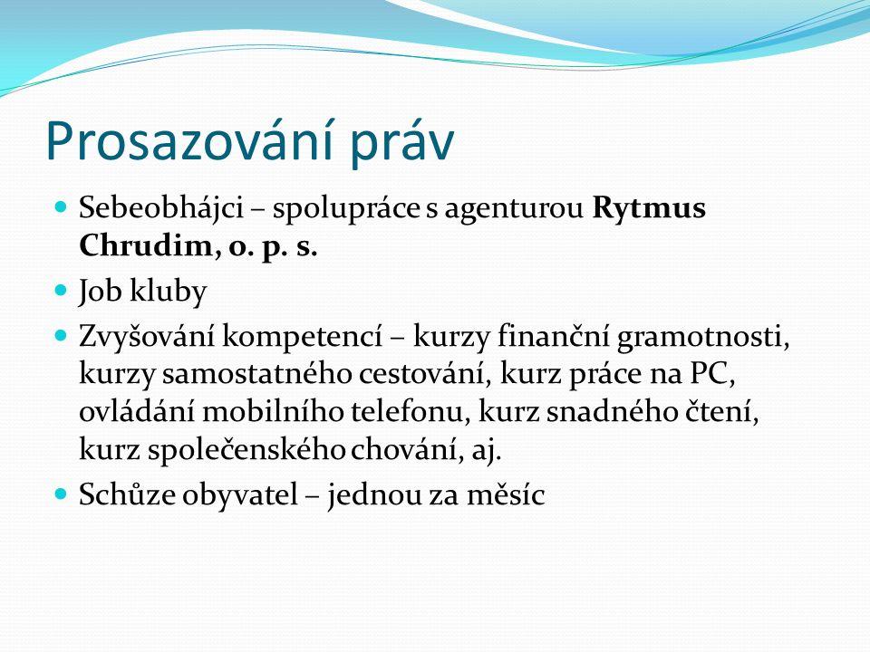 Prosazování práv Sebeobhájci – spolupráce s agenturou Rytmus Chrudim, o. p. s. Job kluby Zvyšování kompetencí – kurzy finanční gramotnosti, kurzy samo