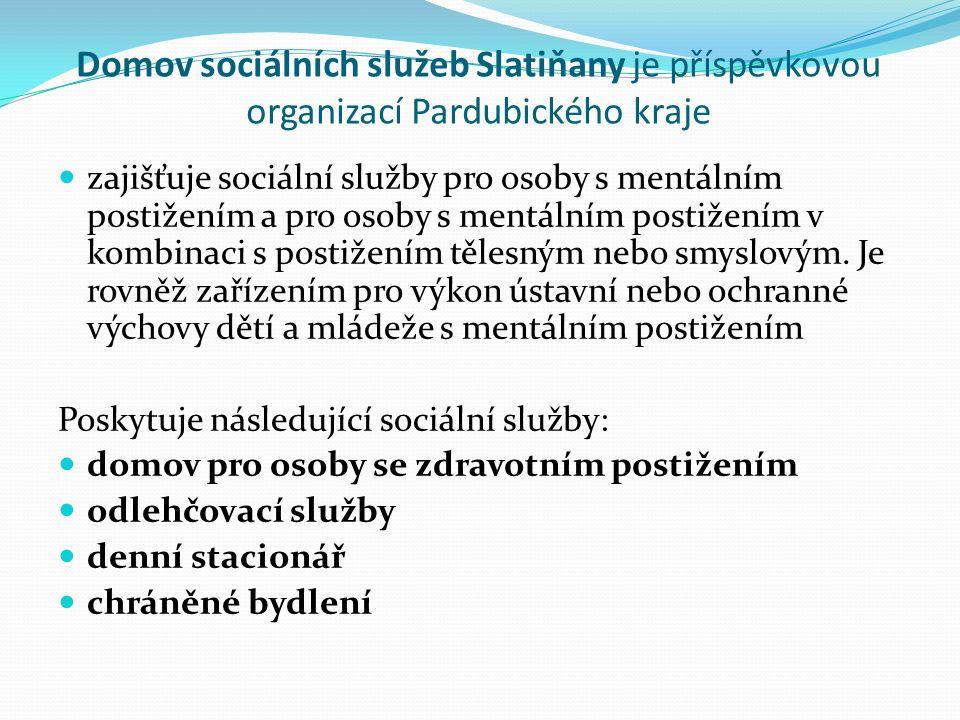 Domov sociálních služeb Slatiňany je příspěvkovou organizací Pardubického kraje zajišťuje sociální služby pro osoby s mentálním postižením a pro osoby