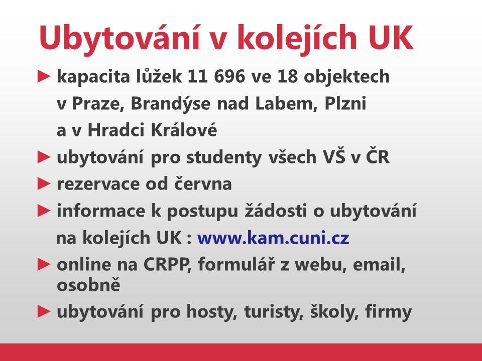 Ubytování v kolejích UK ► kapacita lůžek 11 696 ve 18 objektech v Praze, Brandýse nad Labem, Plzni a v Hradci Králové ► ubytování pro studenty všech V