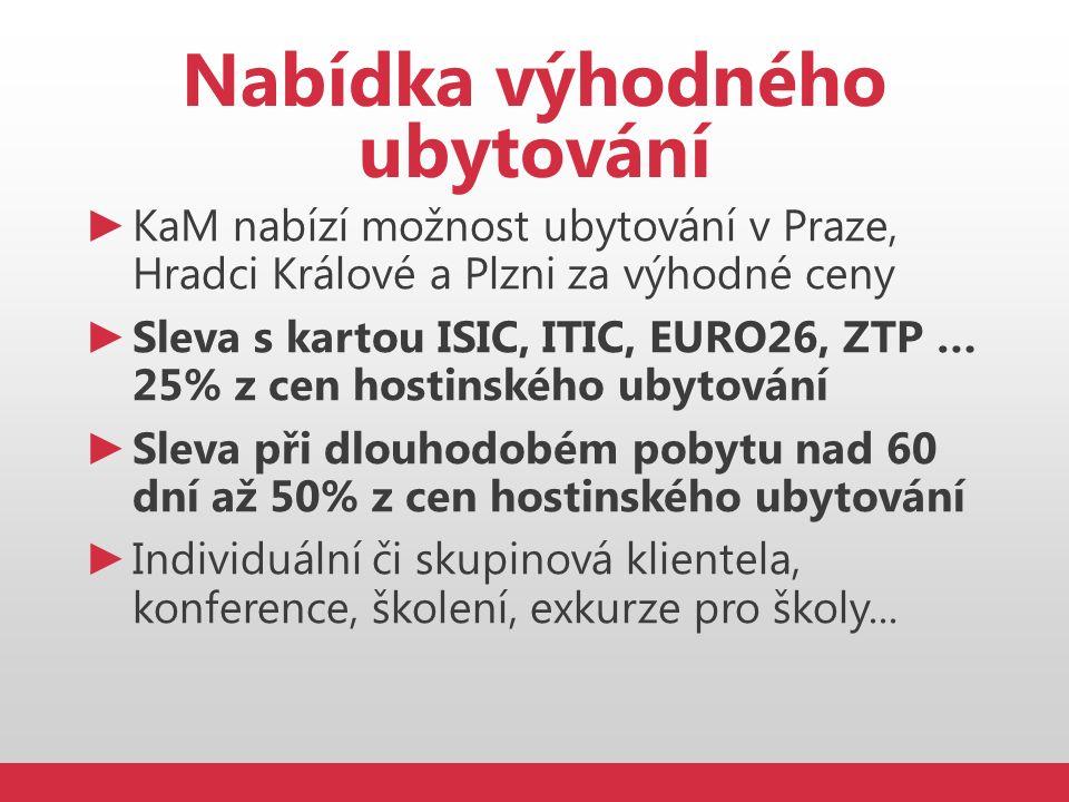 Nabídka výhodného ubytování ► KaM nabízí možnost ubytování v Praze, Hradci Králové a Plzni za výhodné ceny ► Sleva s kartou ISIC, ITIC, EURO26, ZTP …
