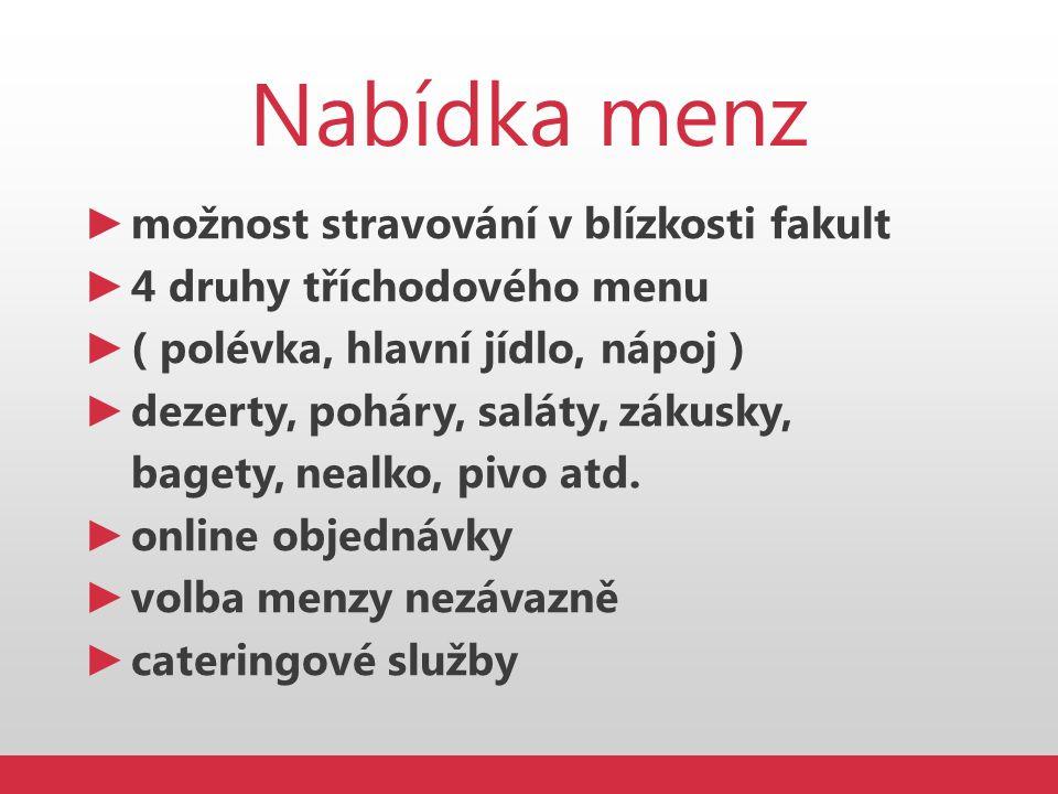 Nabídka menz ► možnost stravování v blízkosti fakult ► 4 druhy tříchodového menu ► ( polévka, hlavní jídlo, nápoj ) ► dezerty, poháry, saláty, zákusky
