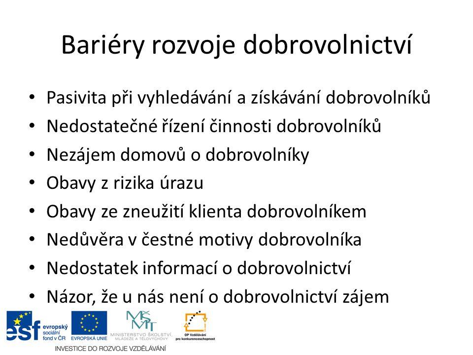 Bariéry rozvoje dobrovolnictví Pasivita při vyhledávání a získávání dobrovolníků Nedostatečné řízení činnosti dobrovolníků Nezájem domovů o dobrovolní