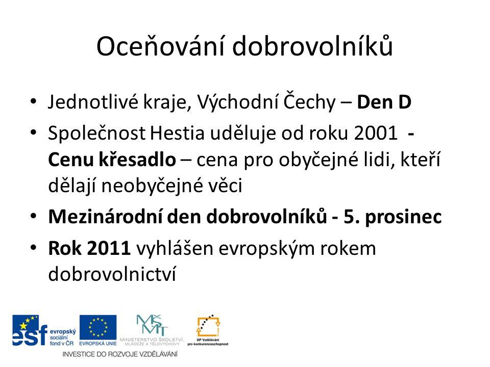 Oceňování dobrovolníků Jednotlivé kraje, Východní Čechy – Den D Společnost Hestia uděluje od roku 2001 - Cenu křesadlo – cena pro obyčejné lidi, kteří