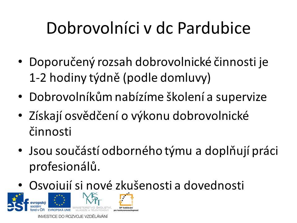 Dobrovolníci v dc Pardubice Doporučený rozsah dobrovolnické činnosti je 1-2 hodiny týdně (podle domluvy) Dobrovolníkům nabízíme školení a supervize Zí