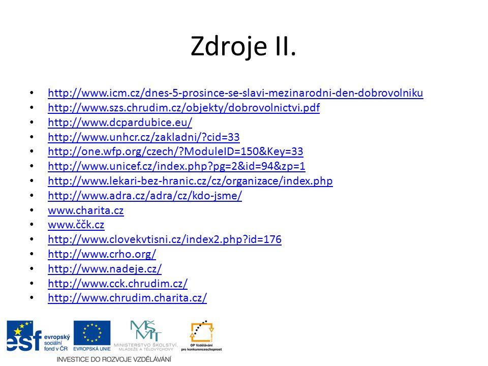Zdroje II. http://www.icm.cz/dnes-5-prosince-se-slavi-mezinarodni-den-dobrovolniku http://www.szs.chrudim.cz/objekty/dobrovolnictvi.pdf http://www.dcp