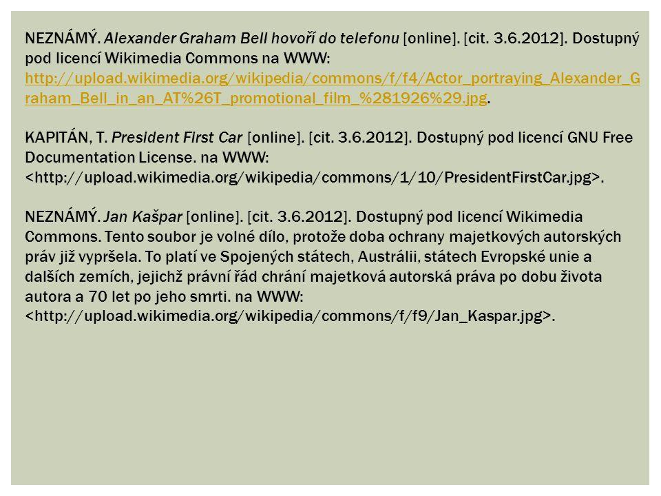 NEZNÁMÝ. Alexander Graham Bell hovoří do telefonu [online].