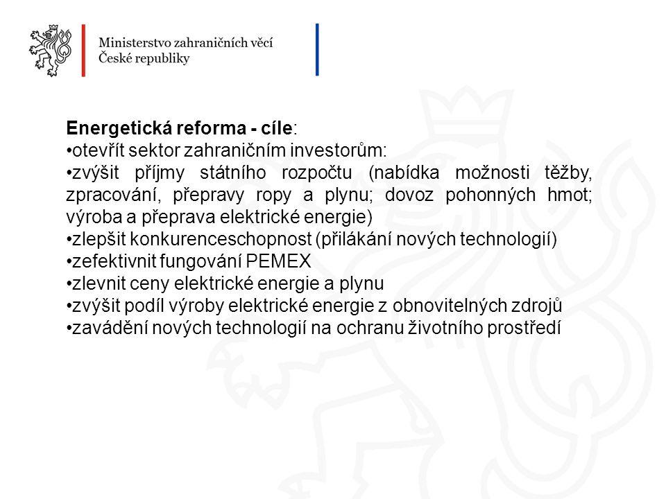 Energetická reforma - cíle: otevřít sektor zahraničním investorům: zvýšit příjmy státního rozpočtu (nabídka možnosti těžby, zpracování, přepravy ropy a plynu; dovoz pohonných hmot; výroba a přeprava elektrické energie) zlepšit konkurenceschopnost (přilákání nových technologií) zefektivnit fungování PEMEX zlevnit ceny elektrické energie a plynu zvýšit podíl výroby elektrické energie z obnovitelných zdrojů zavádění nových technologií na ochranu životního prostředí