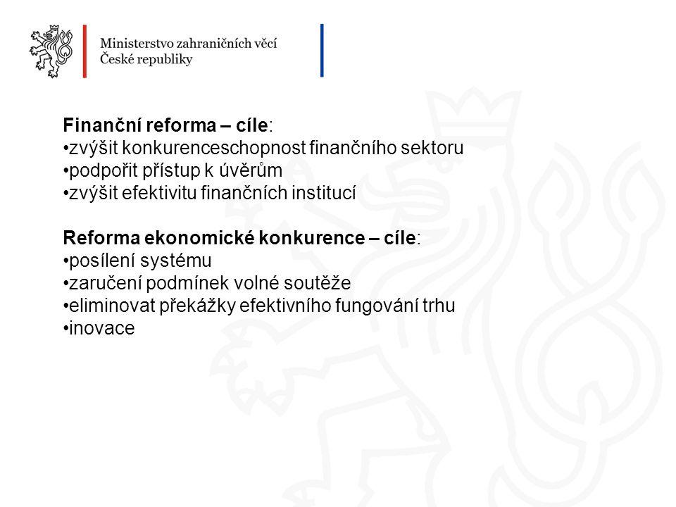 Finanční reforma – cíle: zvýšit konkurenceschopnost finančního sektoru podpořit přístup k úvěrům zvýšit efektivitu finančních institucí Reforma ekonomické konkurence – cíle: posílení systému zaručení podmínek volné soutěže eliminovat překážky efektivního fungování trhu inovace