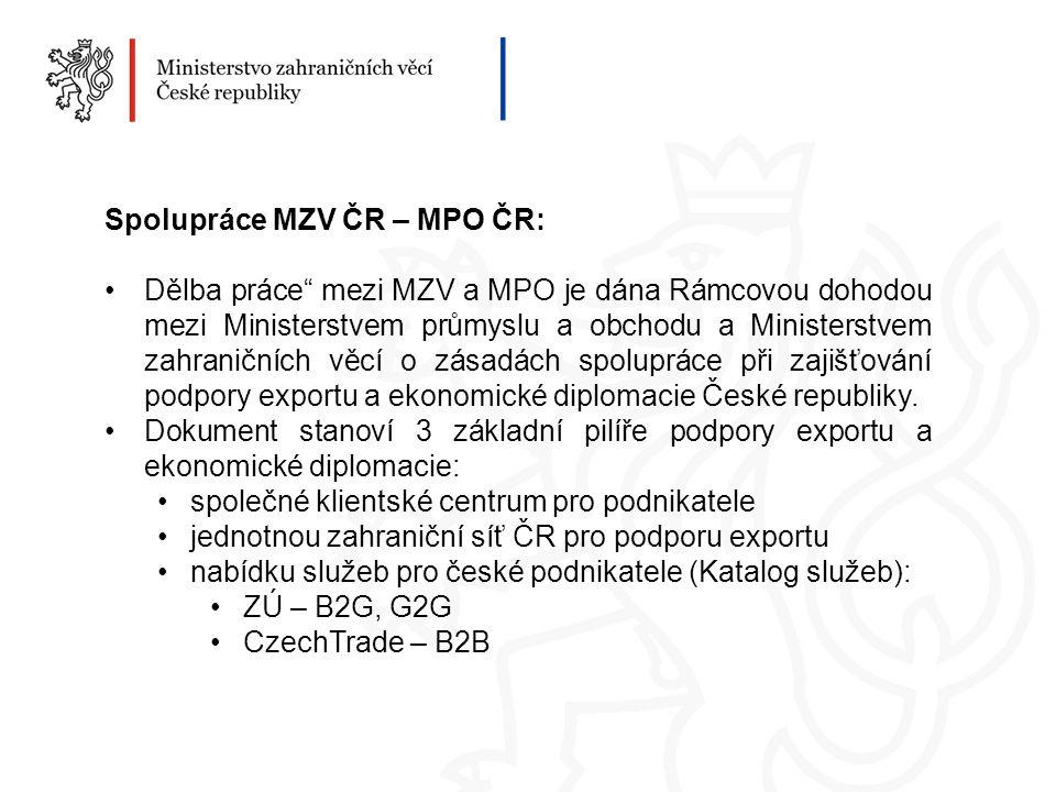 Spolupráce MZV ČR – MPO ČR: Dělba práce mezi MZV a MPO je dána Rámcovou dohodou mezi Ministerstvem průmyslu a obchodu a Ministerstvem zahraničních věcí o zásadách spolupráce při zajišťování podpory exportu a ekonomické diplomacie České republiky.