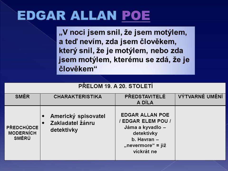 LITERÁRNÍ SMĚRY A JEJICH PŘEDSTAVITELÉ PŘELOM 19.A 20.