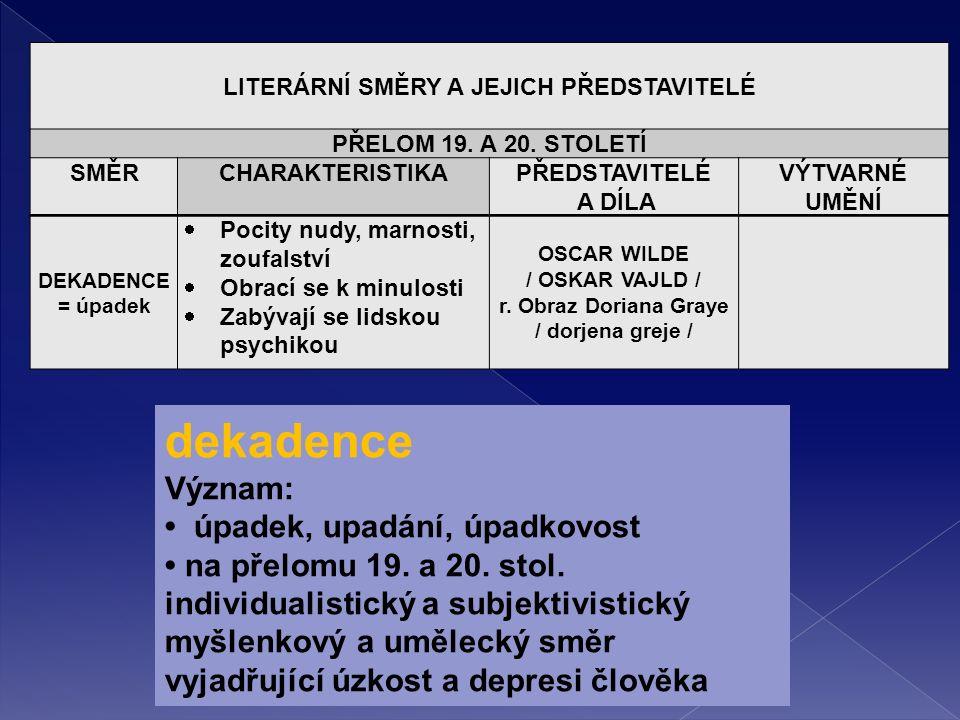 LITERÁRNÍ SMĚRY A JEJICH PŘEDSTAVITELÉ PŘELOM 19. A 20.