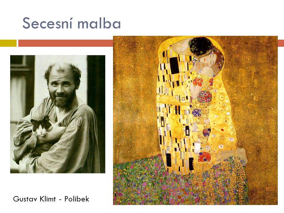 Secesní malba Gustav Klimt - Polibek