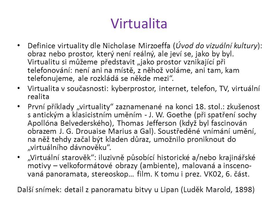 Virtualita Definice virtuality dle Nicholase Mirzoeffa (Úvod do vizuální kultury): obraz nebo prostor, který není reálný, ale jeví se, jako by byl. Vi