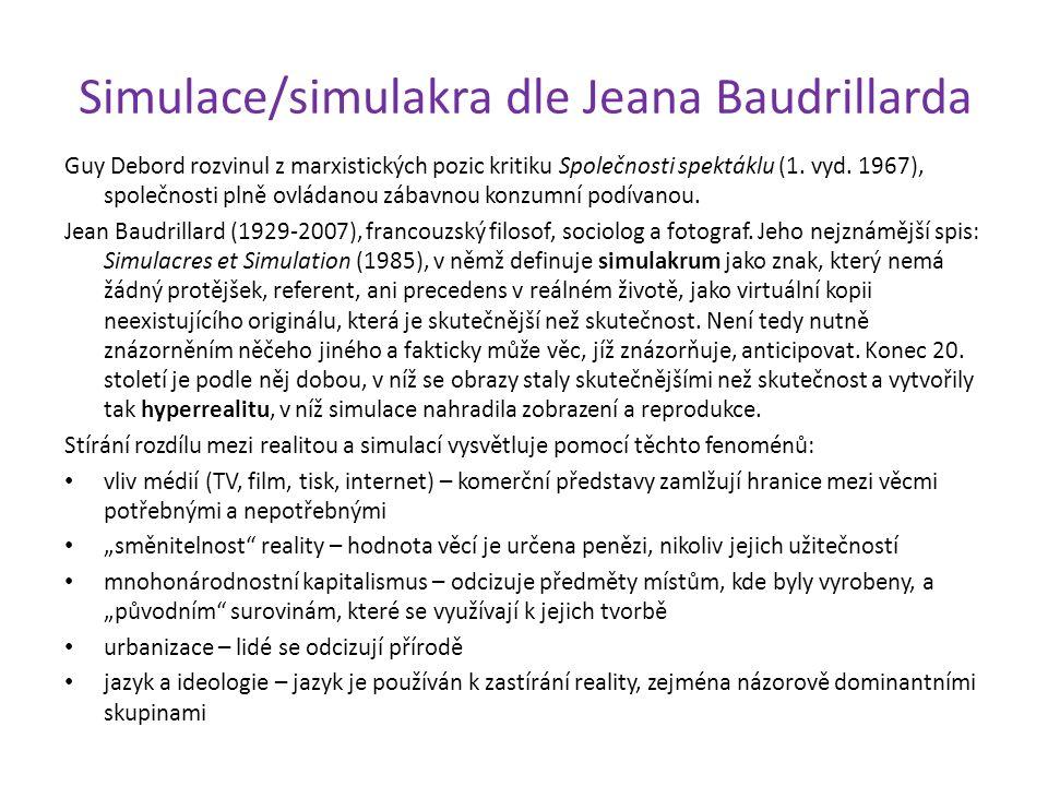 Simulace/simulakra dle Jeana Baudrillarda Guy Debord rozvinul z marxistických pozic kritiku Společnosti spektáklu (1. vyd. 1967), společnosti plně ovl