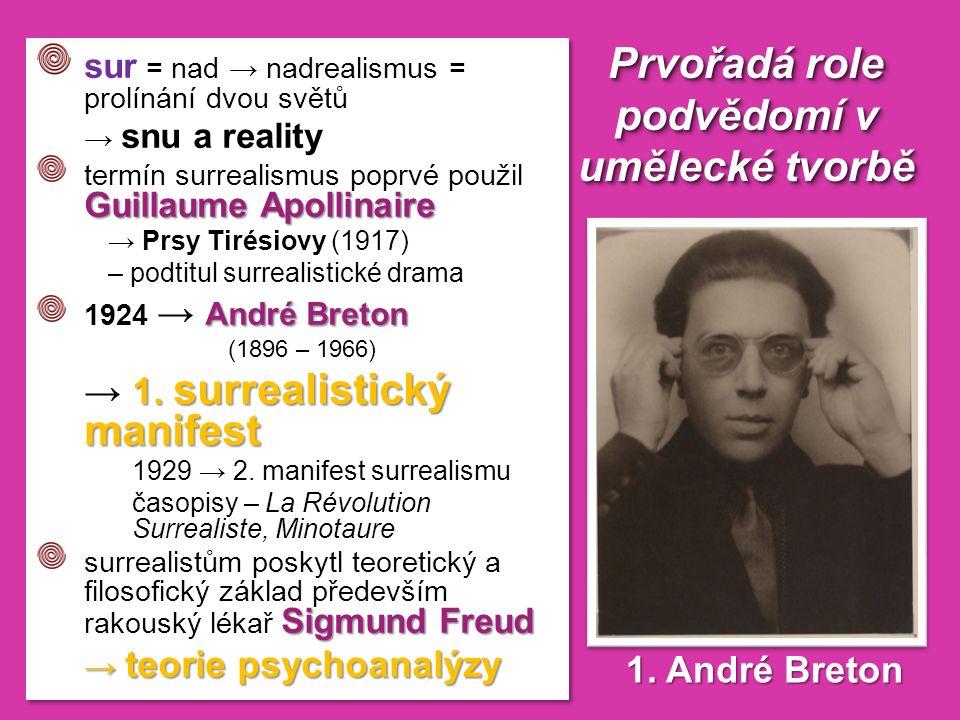 Prvořadá role podvědomí v umělecké tvorbě 1. André Breton