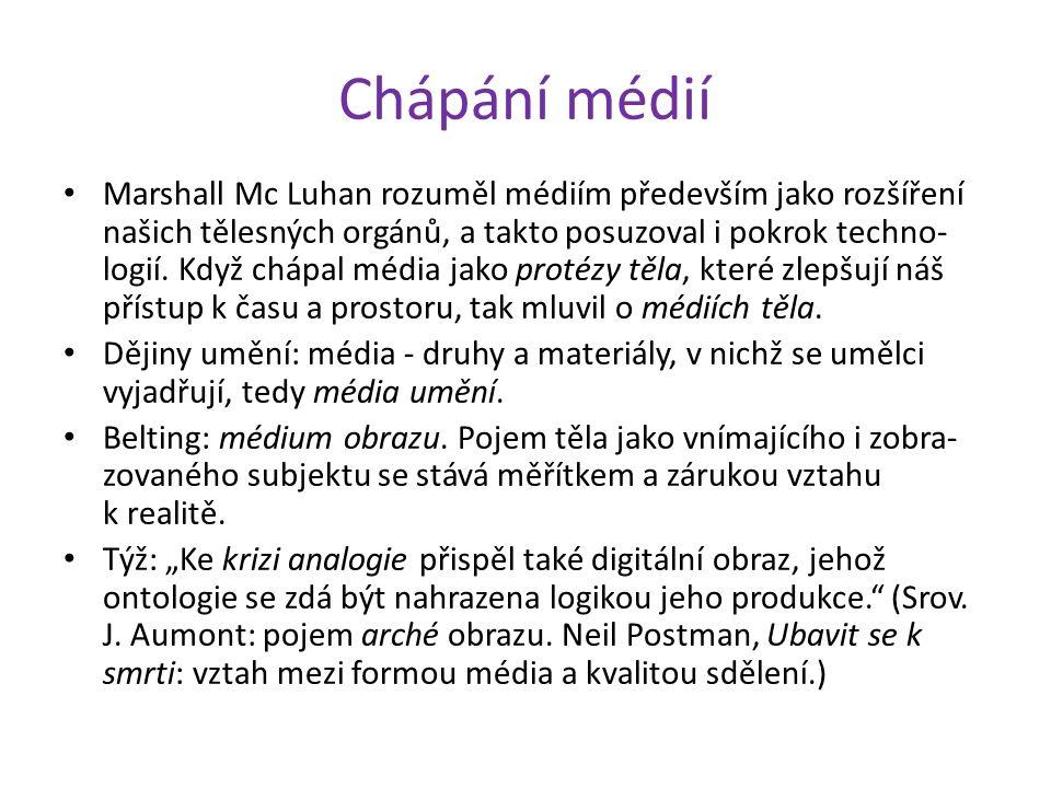 Chápání médií Marshall Mc Luhan rozuměl médiím především jako rozšíření našich tělesných orgánů, a takto posuzoval i pokrok techno- logií. Když chápal