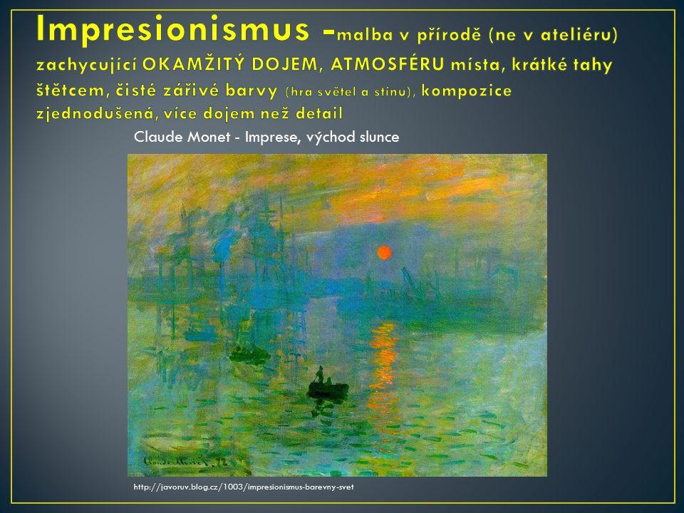 Claude Monet - Imprese, východ slunce http://javoruv.blog.cz/1003/impresionismus-barevny-svet