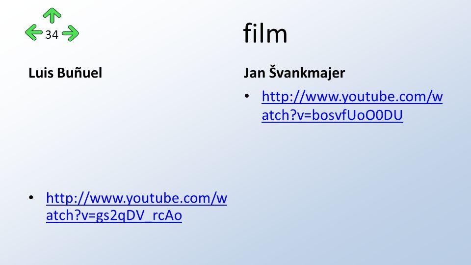 film Luis Buñuel http://www.youtube.com/w atch v=gs2qDV_rcAo http://www.youtube.com/w atch v=gs2qDV_rcAo Jan Švankmajer http://www.youtube.com/w atch v=bosvfUoO0DU http://www.youtube.com/w atch v=bosvfUoO0DU 34