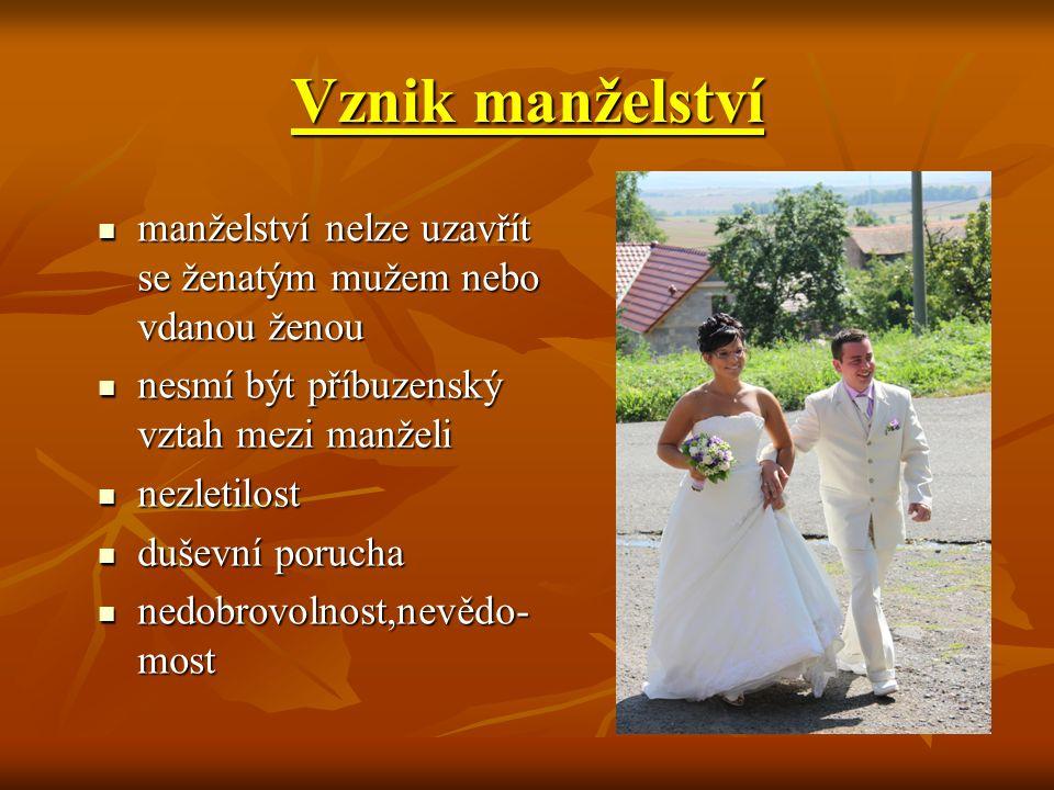 Vznik manželství manželství nelze uzavřít se ženatým mužem nebo vdanou ženou manželství nelze uzavřít se ženatým mužem nebo vdanou ženou nesmí být pří
