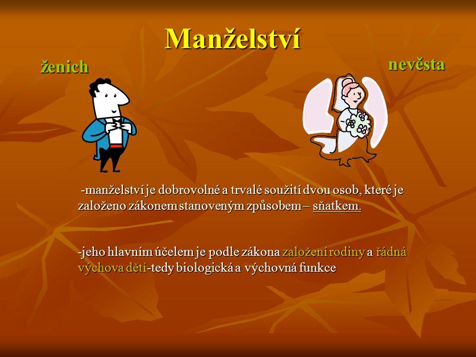 -manželství je dobrovolné a trvalé soužití dvou osob, které je založeno zákonem stanoveným způsobem – sňatkem. -manželství je dobrovolné a trvalé souž