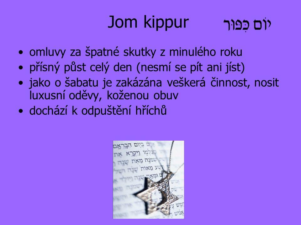 Jom kippur omluvy za špatné skutky z minulého roku přísný půst celý den (nesmí se pít ani jíst) jako o šabatu je zakázána veškerá činnost, nosit luxusní oděvy, koženou obuv dochází k odpuštění hříchů