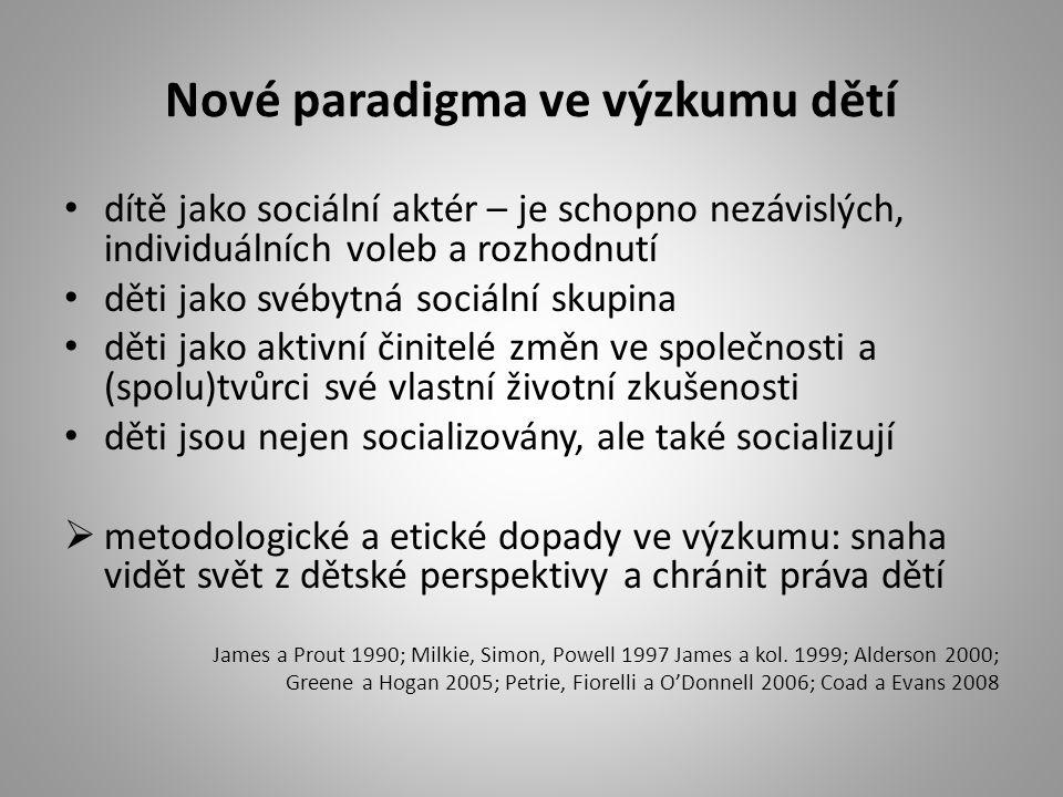 Sociologický výzkum dětí v ČR teoretické studie a diskurzivní analýzy dětství (Nosál 2002, 2003) vzdělávání dětí a menšin (projekt EDUMIGROM), problematika genderu a vzdělávání dětí (Jarkovská 2009; Jarkovská, Lišková, Šmídová 2010) Národní institut dětí a mládeže MŠMT - výzkumy postojů a hodnot mládeže a dětí k nejrůznějším oblastem jejich života příležitostné výzkumy dětí a mládeže na zakázku různých subjektů - prováděné velkými agenturami (Median, Factum-Invenio, Milward-Brown)