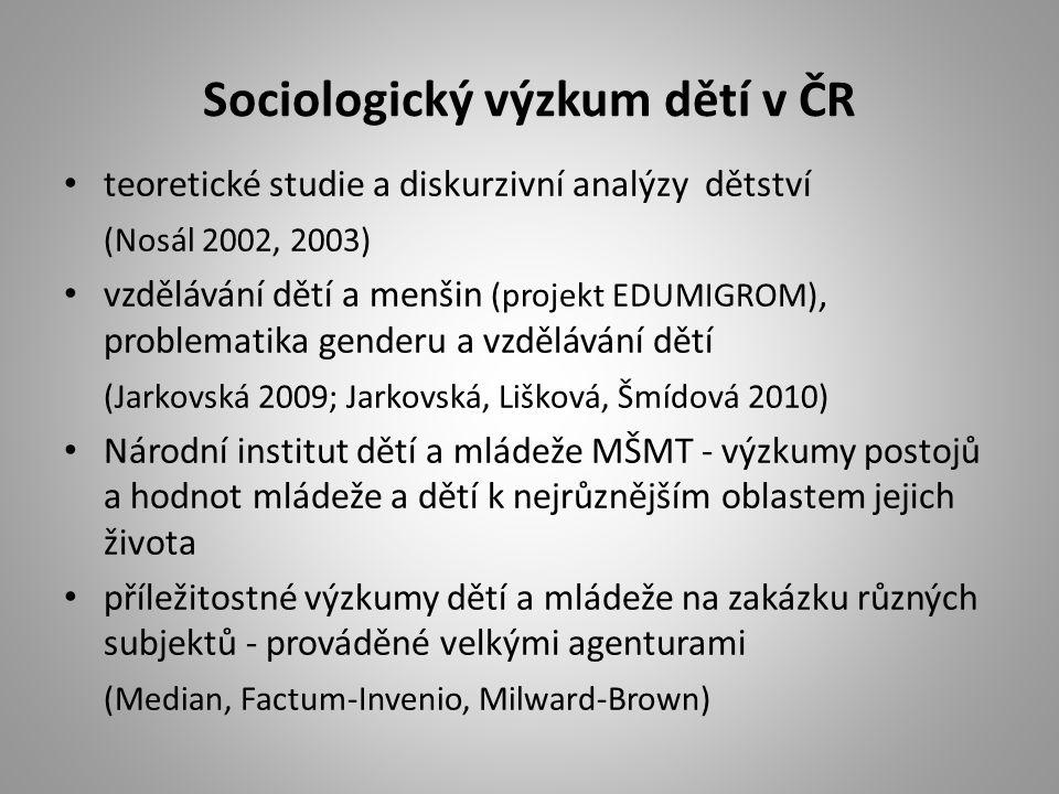 Sociologický výzkum dětí v ČR teoretické studie a diskurzivní analýzy dětství (Nosál 2002, 2003) vzdělávání dětí a menšin (projekt EDUMIGROM), problem