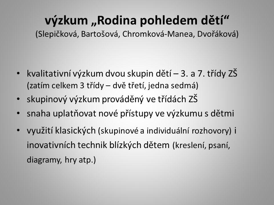 """výzkum """"Rodina pohledem dětí"""" (Slepičková, Bartošová, Chromková-Manea, Dvořáková) kvalitativní výzkum dvou skupin dětí – 3. a 7. třídy ZŠ (zatím celke"""