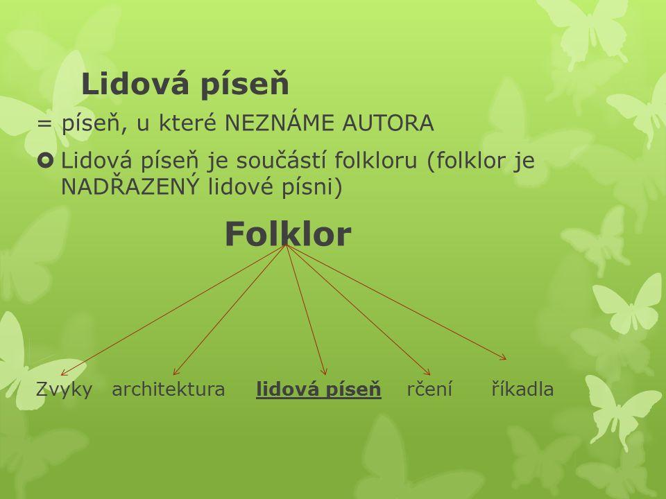 Lidová píseň = píseň, u které NEZNÁME AUTORA  Lidová píseň je součástí folkloru (folklor je NADŘAZENÝ lidové písni) Folklor Zvyky architektura lidová