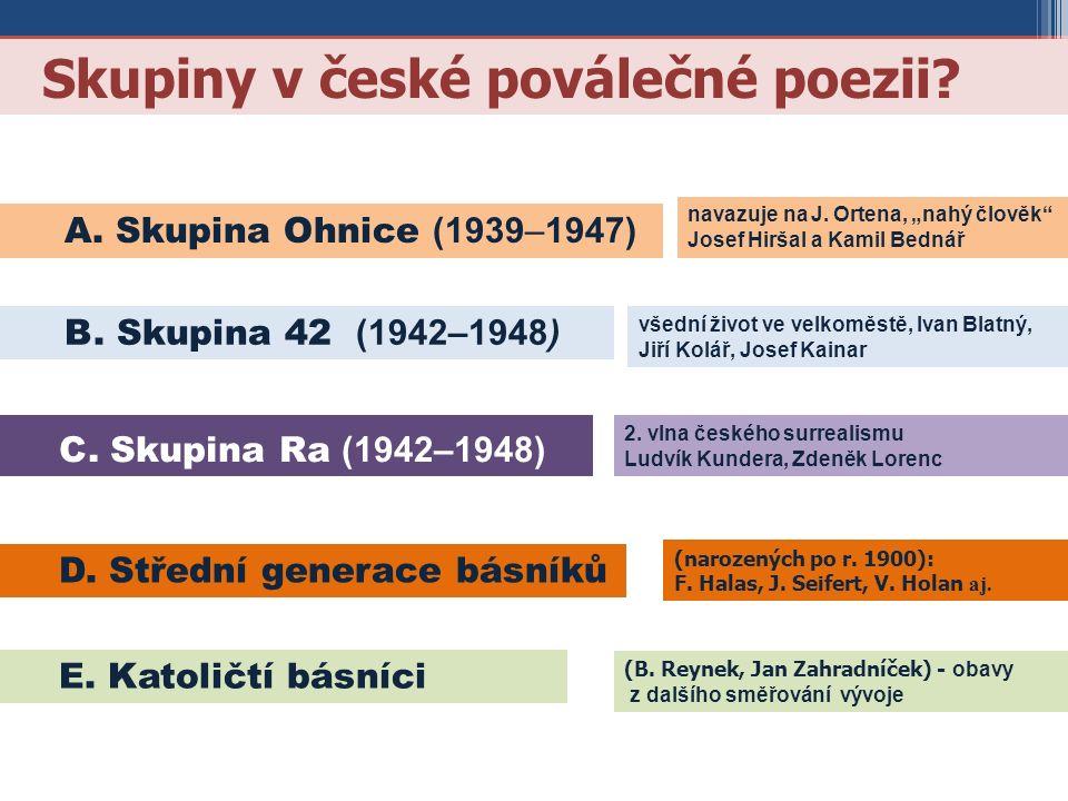 Skupiny v české poválečné poezii? B. Skupina 42 (1942–1948) E. Katoličtí básníci C. Skupina Ra (1942–1948) D. Střední generace básníků A. Skupina Ohni
