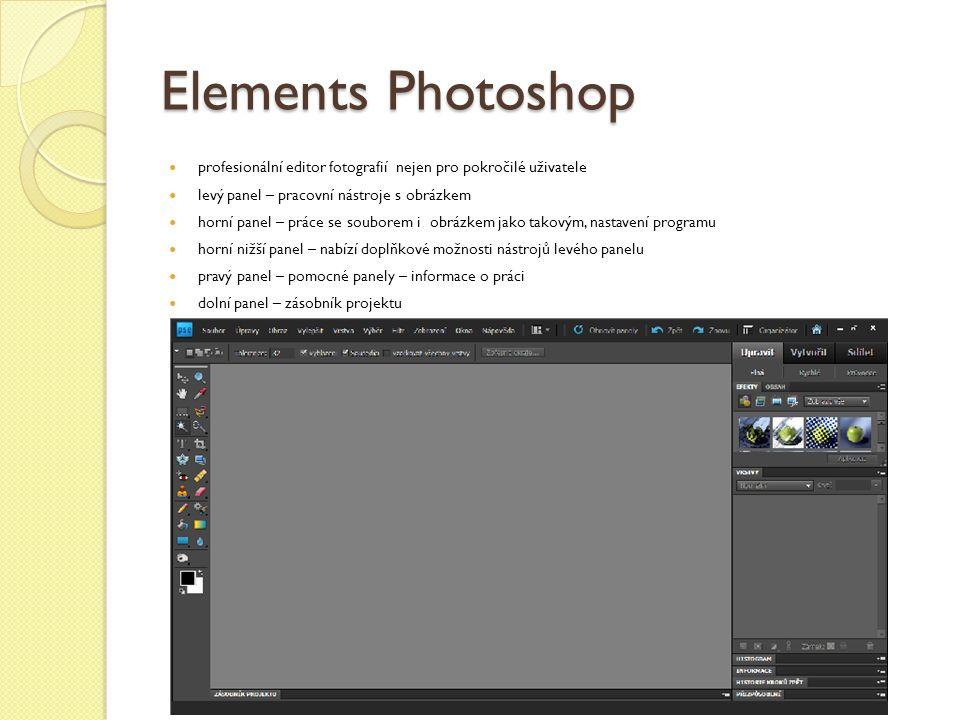 Elements Photoshop profesionální editor fotografií nejen pro pokročilé uživatele levý panel – pracovní nástroje s obrázkem horní panel – práce se souborem i obrázkem jako takovým, nastavení programu horní nižší panel – nabízí doplňkové možnosti nástrojů levého panelu pravý panel – pomocné panely – informace o práci dolní panel – zásobník projektu