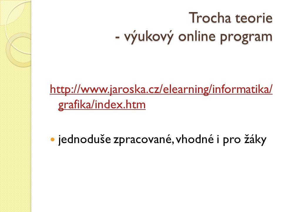 Trocha teorie - výukový online program http://www.jaroska.cz/elearning/informatika/ grafika/index.htm jednoduše zpracované, vhodné i pro žáky