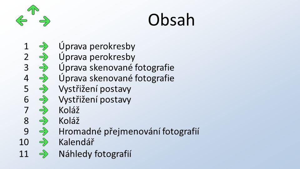 Obsah Úprava perokresby1 2 Úprava skenované fotografie3 4 Vystřižení postavy5 6 Koláž7 8 Hromadné přejmenování fotografií9 Kalendář10 Náhledy fotograf