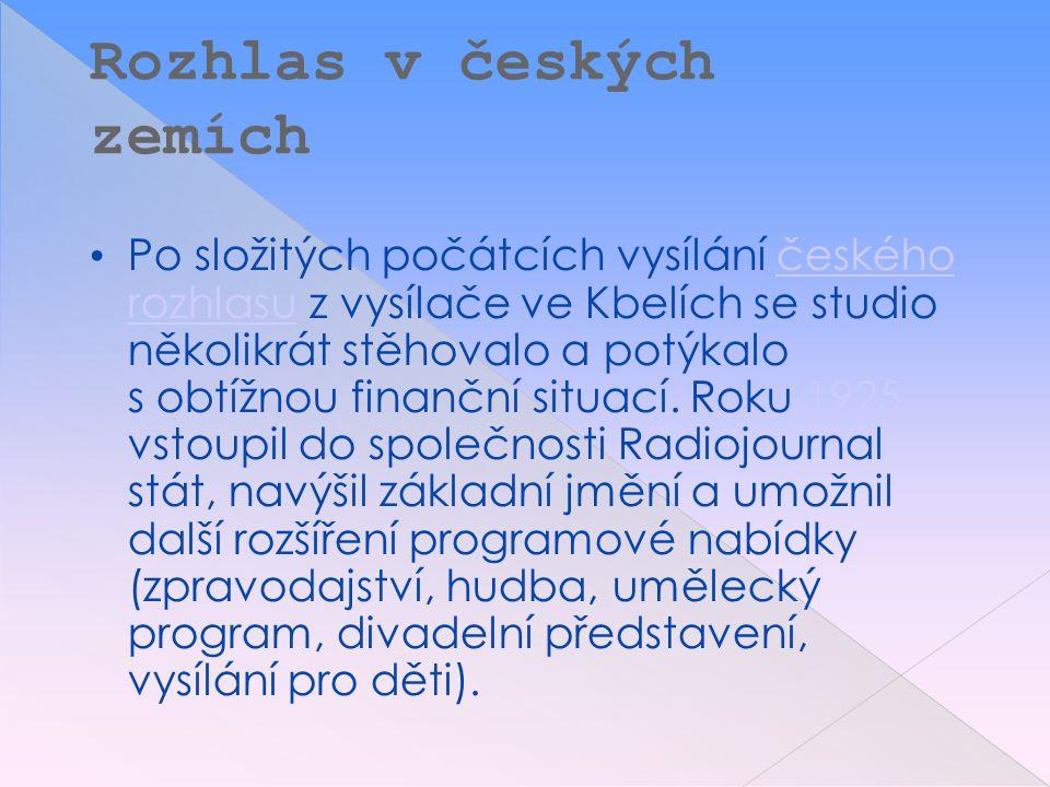 Rozhlas v českých zemích Po složitých počátcích vysílání českého rozhlasu z vysílače ve Kbelích se studio několikrát stěhovalo a potýkalo s obtížnou finanční situací.